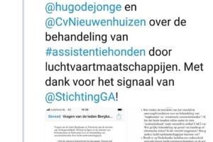 Schriftelijke vragen Vera Bergkamp en Jan Paternotte over assistentiehondenbeleid KLM